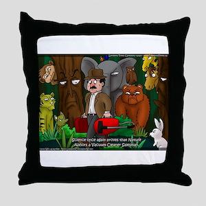 Nature Abhors This Cartoon Throw Pillow