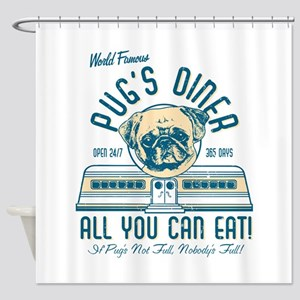 Pug Diner Shower Curtain