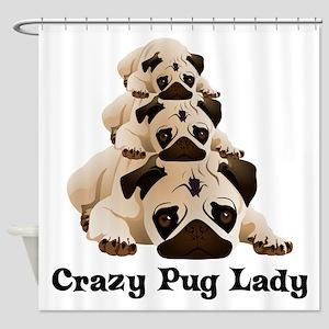 Crazy Pug Lady Shower Curtain