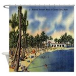 Vintage Florida Beach Postcard Shower Curtain