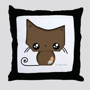 Omanju Neko Brown Throw Pillow
