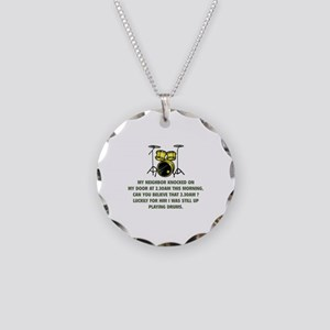 Still Up Playing Drums Necklace Circle Charm