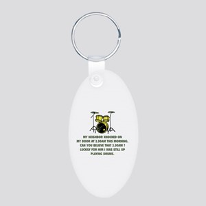 Still Up Playing Drums Aluminum Oval Keychain
