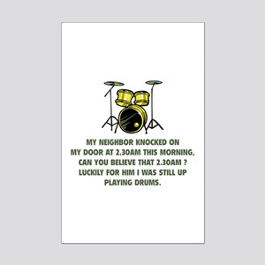 Still Up Playing Drums Mini Poster Print
