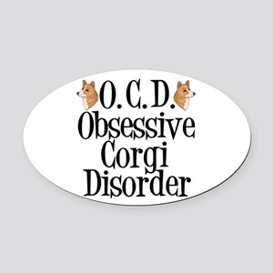 Corgi Obsessed Oval Car Magnet