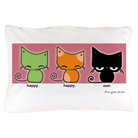 happy.happy.meh Cats Pillow Case