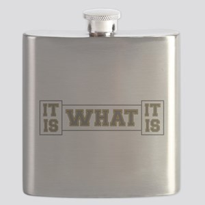 It Is What It Is Gray and Gold Flask