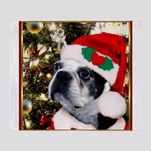 Christmas Boston Terrier Throw Blanket