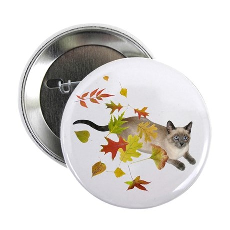 """Siamese Cat Fall Leaves 2.25"""" Button"""