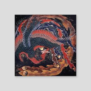 """Katsushika Hokusai Phoenix Square Sticker 3"""" x 3"""""""