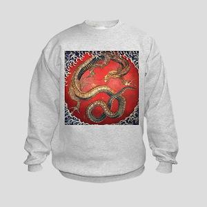 Katsushika Hokusai Dragon Kids Sweatshirt