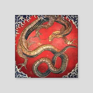 "Katsushika Hokusai Dragon Square Sticker 3"" x 3"""