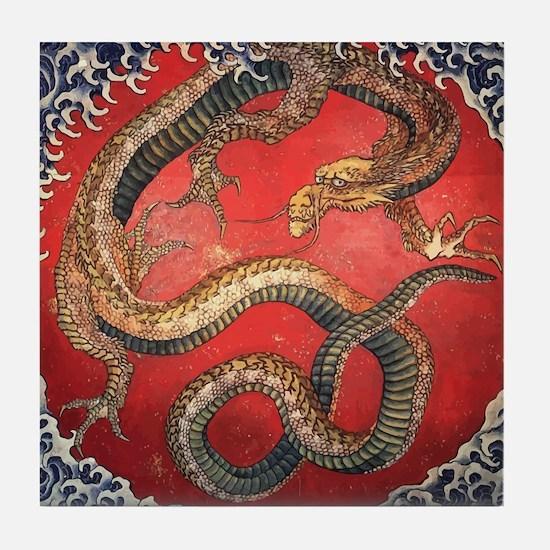 Katsushika Hokusai Dragon Tile Coaster