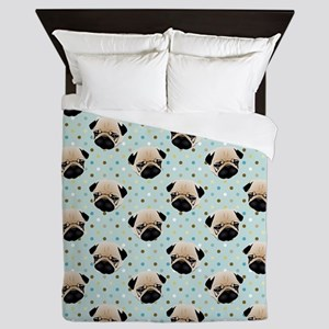 Pugs on Polka Dots Queen Duvet