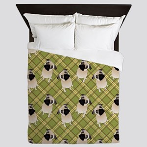 Sweet Pugs on Green Plaid