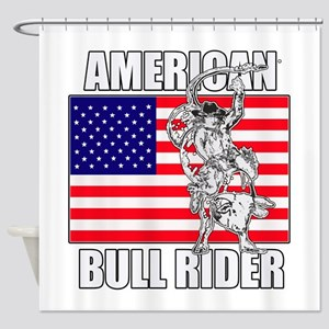 American Bull Rider Shower Curtain