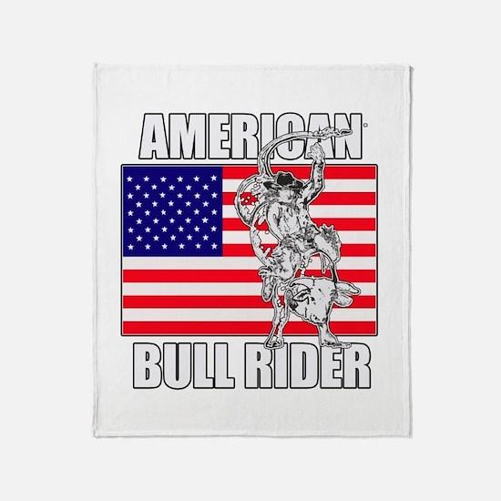 American Bull Rider Throw Blanket