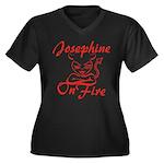 Josephine On Fire Women's Plus Size V-Neck Dark T-