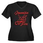 Juanita On Fire Women's Plus Size V-Neck Dark T-Sh