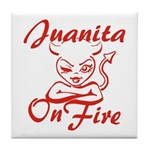Juanita On Fire Tile Coaster