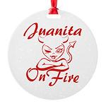 Juanita On Fire Round Ornament