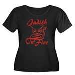 Judith On Fire Women's Plus Size Scoop Neck Dark T