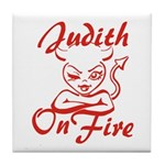 Judith On Fire Tile Coaster