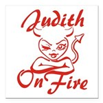 Judith On Fire Square Car Magnet 3