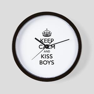Keep calm and kiss boys Wall Clock