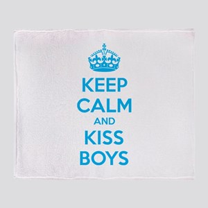 Keep calm and kiss boys Throw Blanket