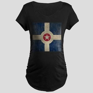 Vintage Indianapolis Flag Maternity Dark T-Shirt