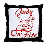 Judy On Fire Throw Pillow