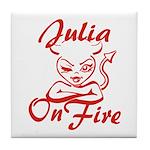 Julia On Fire Tile Coaster
