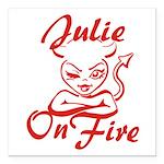 Julie On Fire Square Car Magnet 3