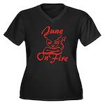 June On Fire Women's Plus Size V-Neck Dark T-Shirt