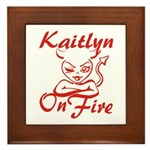 Kaitlyn On Fire Framed Tile