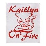 Kaitlyn On Fire Throw Blanket