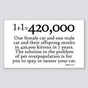 420,000 Cat Overpopulation Rectangle Sticker