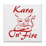 Kara On Fire Tile Coaster