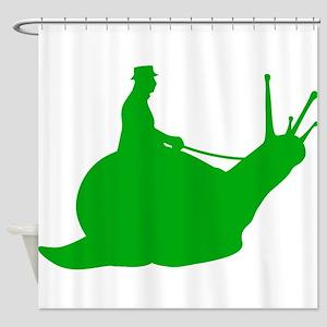 Green Snail Rider Shower Curtain