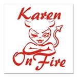 Karen On Fire Square Car Magnet 3