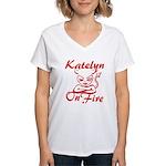 Katelyn On Fire Women's V-Neck T-Shirt