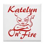 Katelyn On Fire Tile Coaster