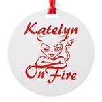 Katelyn On Fire Round Ornament