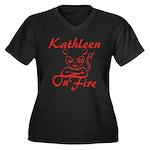 Kathleen On Fire Women's Plus Size V-Neck Dark T-S