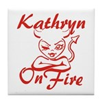 Kathryn On Fire Tile Coaster
