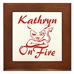 Kathryn On Fire Framed Tile