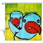 Blue Bird Graffiti NOLA Shower Curtain