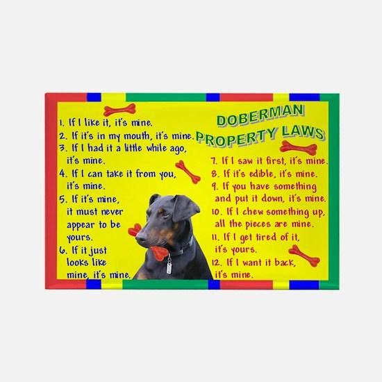 Doberman Pinscher Property Laws 1 Rectangle Magnet