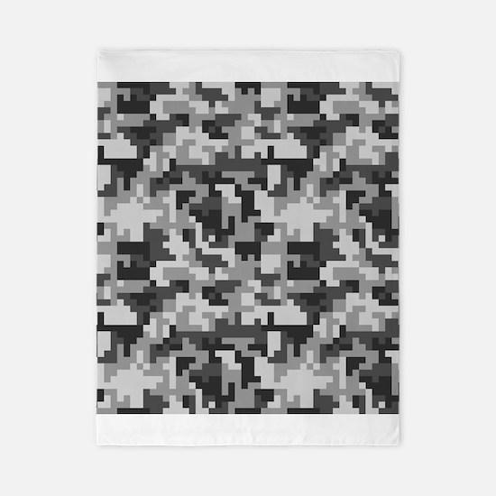 Urban Grey Pixel Camo pattern Twin Duvet Cover